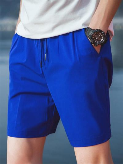 Elasticated Drawstring Waistband Side Slit Pocket Thigh-Length Track Shorts