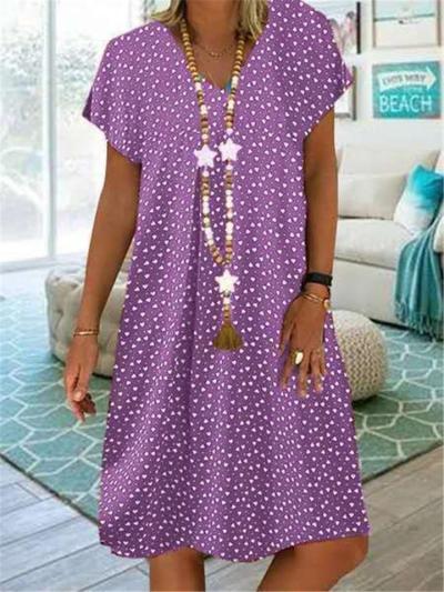 Laid-Back Style V Neck All-Over Polka Dot Print Pullover Mid-Length Dress