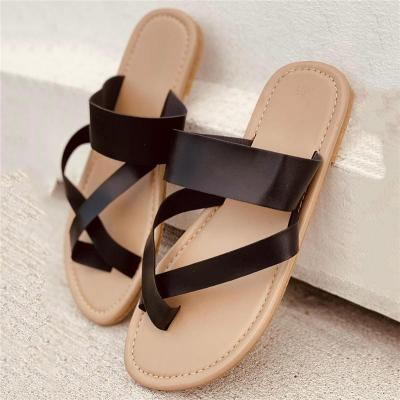 Laid-Back Style Toe-Ring Cross Strap Design Contrast Stitching Flat Slippers