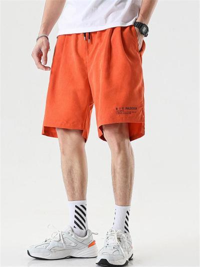 Laid-Back Lettering Drawstring Knee-Length Straight-Leg Pocket Track Shorts