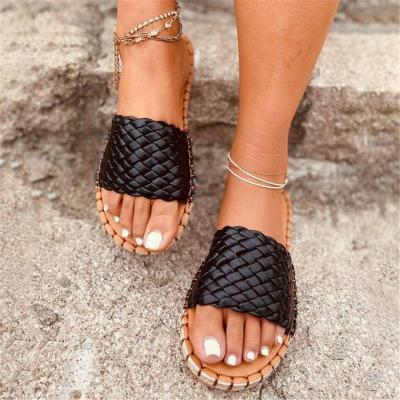 Laid-Back Open-Toe Front Braided Design Contrast Stitching Flat Sole Slippers