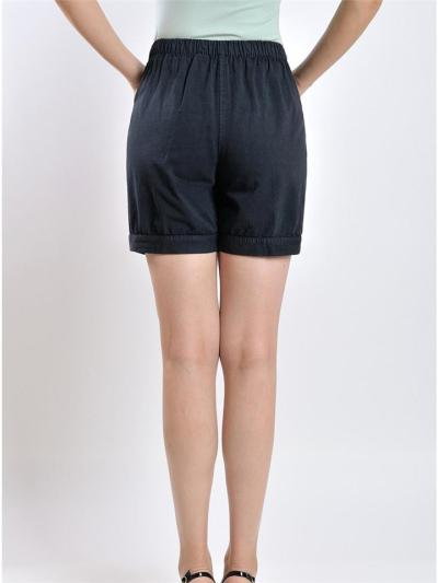 Regular Fit Soft Cotton Elastic Waistband Patch Pocket Floral Embroidery Shorts