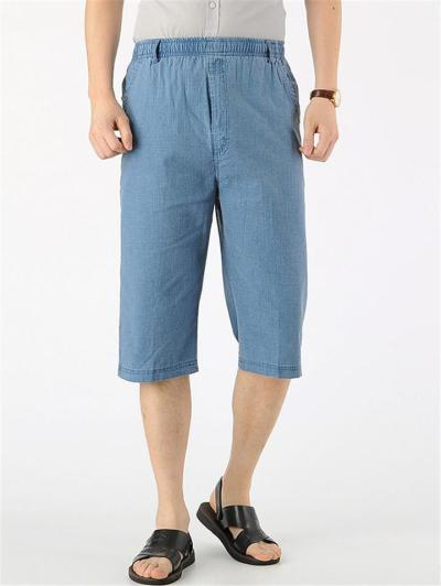 Relaxed Shape Elastic Waistband Drawstring Straight-Leg Linen Pocket Pants