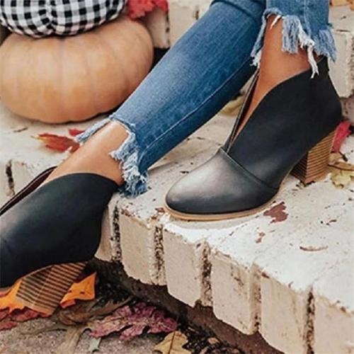 Retro Style Front Slit Design Chunky Heel Pointed Toe Slip-On Booties