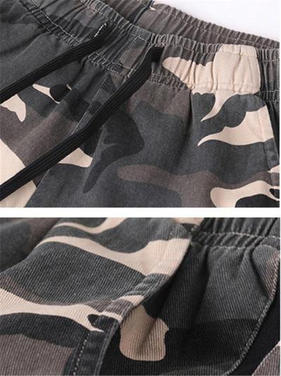 Elasticated Drawstring Waistband Camouflage Print Straight-Leg Track Shorts