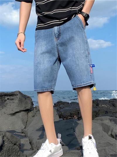 Casual Rolling Up Hem Contrast Stitching Straight-Leg Knee-Length Jeans
