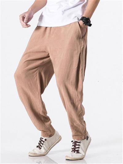Mens Casual Comfy Loose Cotton Linen Harem Pants