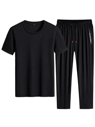 Relaxed Shape Breathable 2 Piece Set Crew Neck T-Shirt + Drawstring Pants