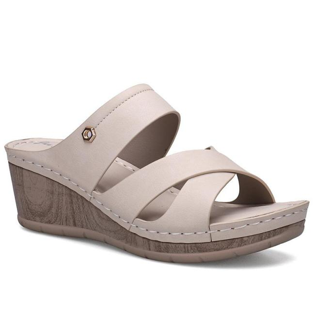 Casual Slip-On Style Platform Front Cross-Strap Wedge Sole Sandals Slippers