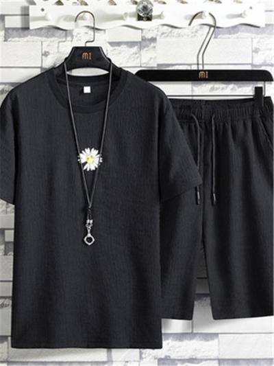 Loose Casual Knitted Short Sleeved T-Shirts+Shorts