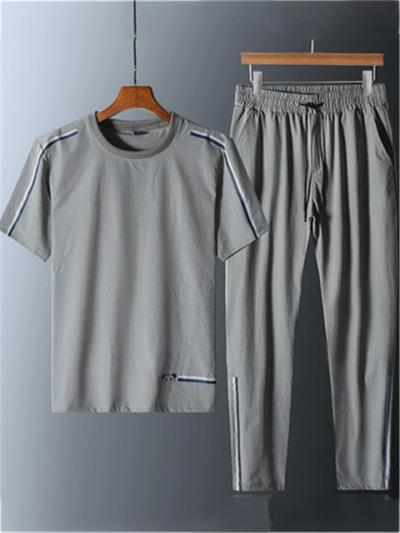 Sports Stripe Quick Dry Breathable Short Sleeved T-Shirts+Pants