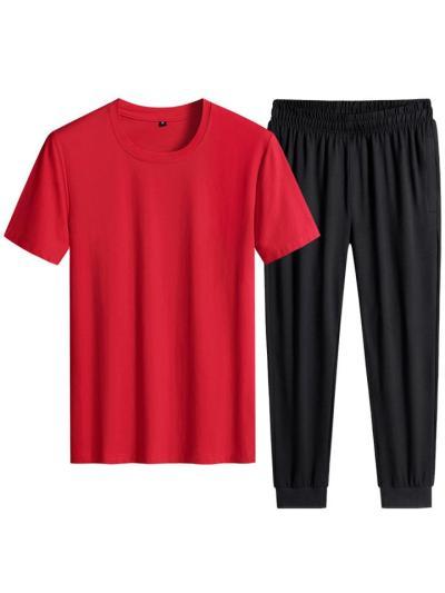 Casual Fit Soft Cotton 2 Piece Set Straight Hem T-Shirt + Elastic Cuff Pants