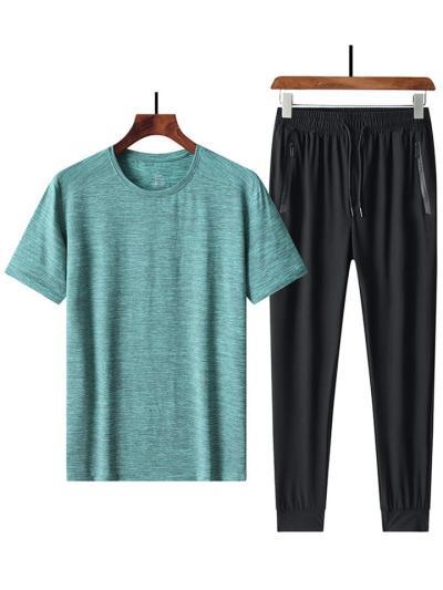 Straight Silhouette Quick Dry Set Round Neck T-Shirt + Drawstring Pants