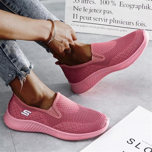 Slip-On Style Low-Top Silhouette Flat Sole Mesh Upper Lightweight Sneaker