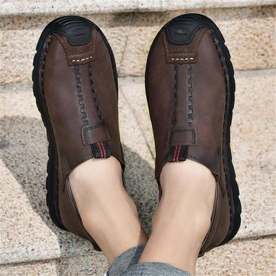 Mens Comfy Waterproof Stitching Print Cargo Loafers
