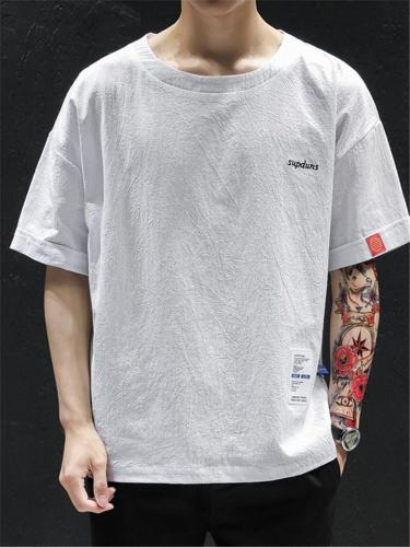 Knitted Cotton Lightweight Short Sleeve Casual Loose T-shirts