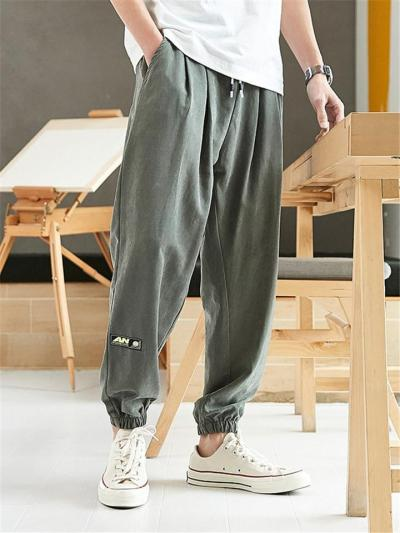 Tapered Fit Waistband Drawstring Fastening Elastic Cuff Side Slit Pocket Pants
