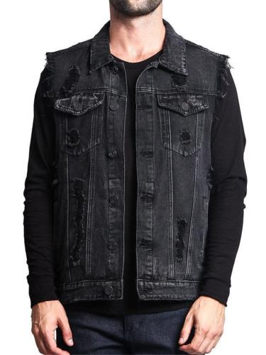 Casual Fashion Disressed Denim Vests