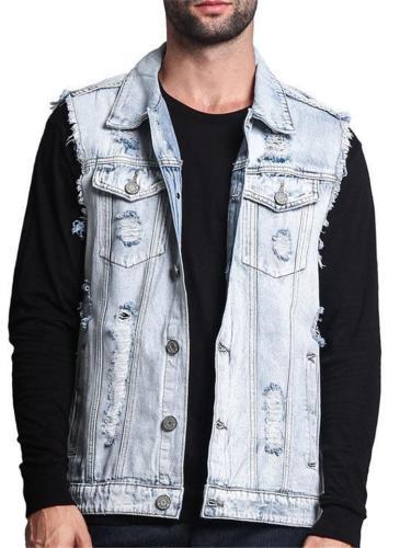 Casual Fashion Disressed Denim Vests