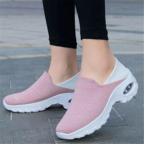 Contrasting Heel Counter Heathered Fabric Upper Rocker Bottom Walking Shoes