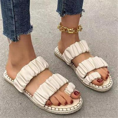 Slip-On Style Contrast Stitching Toe-Ring Flat Braided Sole Sandals Slippers