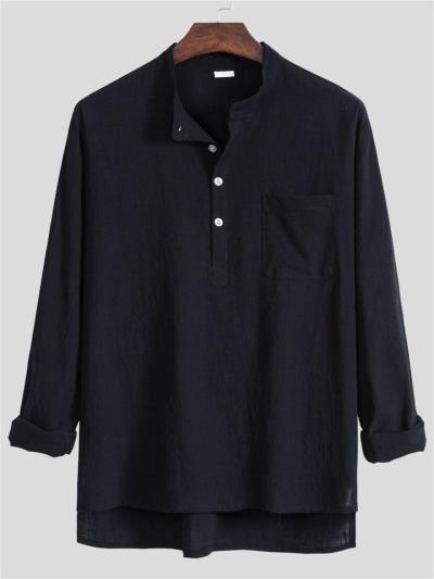 Front Button Fastening High-Low Hem Chest Patch Pocket Lightweight Shirt
