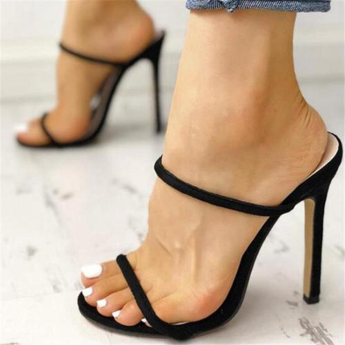 Slip-On Style Strap Detailing Open Toe Design High-Heeled Sandals