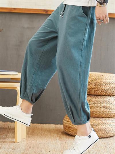 Loose Tapered Comfy Casual Drawstring Elastic Waist Pants