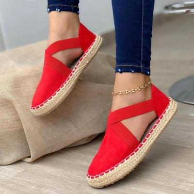 Slip-On Style Side Cutout Design Suede Upper Flat Braided Sole Shoes
