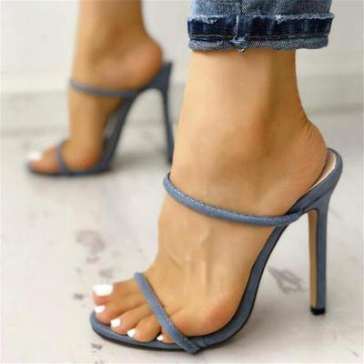 Slip-On Style Strap Detailing Open Toe Design High-Heeled Sandals