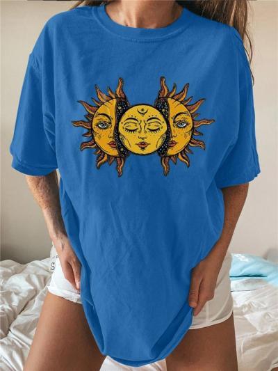 Oversized Style Relaxed Shape Crew Neck Sun Face Print Straight Hem T-Shirt