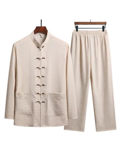 Men's Comfy Retro Knit Long Sleeved T-Shirts+Pants