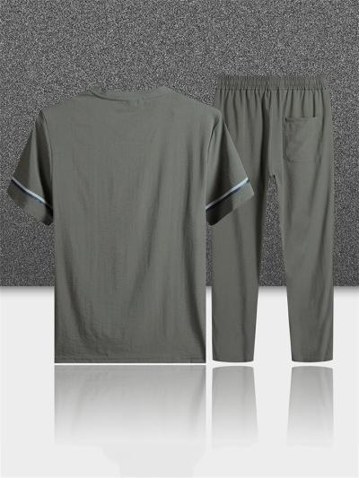 Sports Breathable Stripe Casual Short Sleeved T-Shirts+Pants