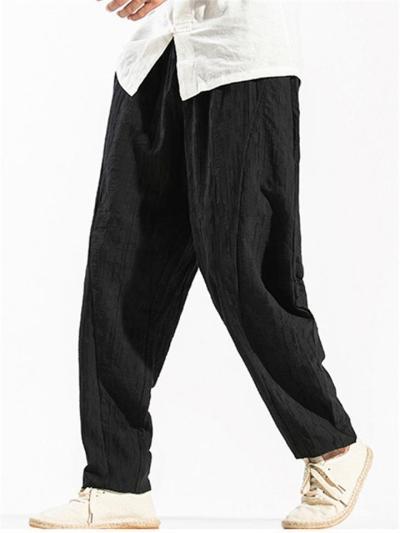 Vintage Loose Linen&Cotton Stripe Comfy Pants