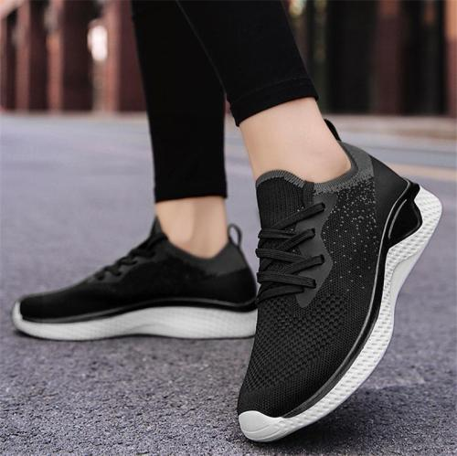 Pull-Tab Knitted Upper Almond Toe Front Lace-Up Fastening Walking Shoes