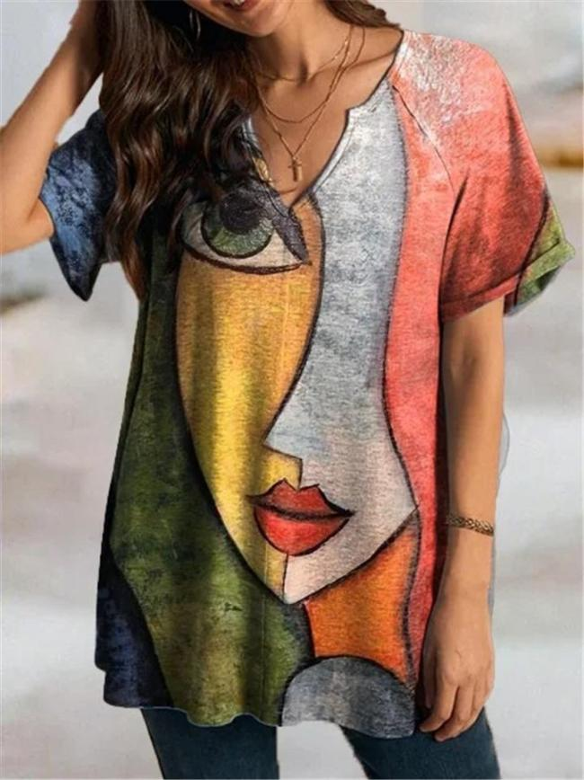 Relaxed Notched Neck Short Sleeve Abstract Face Print Straight Hem T-Shirt