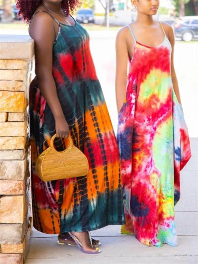 Oversized Scoop Neck Tie-Dye Spaghetti Strap Side Slit Pocket Full-Length Dress