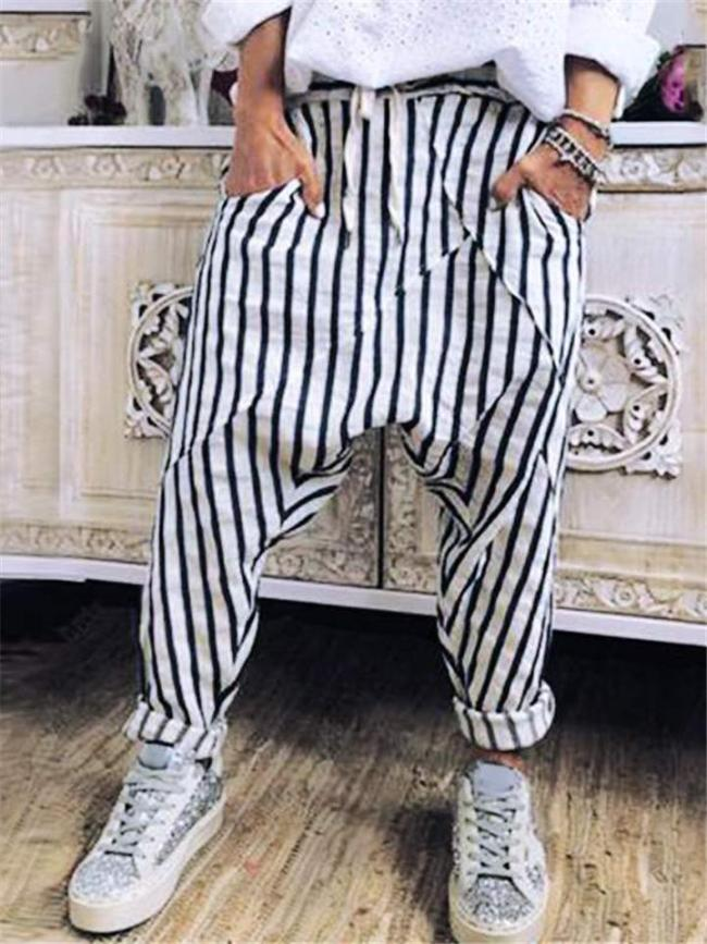 On-Trendy Drop-Crotched Pocket Mid-Rise Drawstring Striped Pants