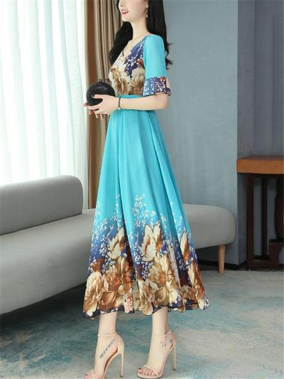 Pretty Floral Print Fitted Waist Short Sleeve Pleated Detailing Flare Midi-Length Dress