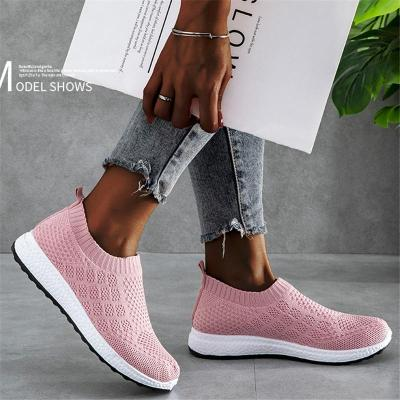 Back Pull-Tab Breathable Mesh Upper Slip-On Style Contrasting Flat Sole Sneakers
