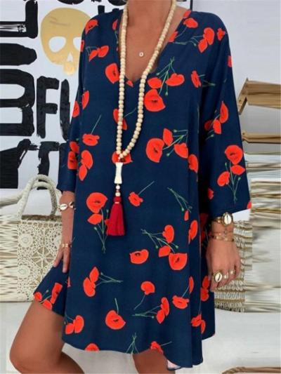 Relaxed Plunging V Neck Long Sleeve Thigh-Length Cherries Print Shift Dress