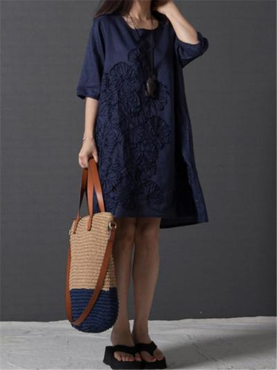 Minimalist Style Soft Cotton Half Sleeve Floral Embroidery Knee-Length Shift Dress