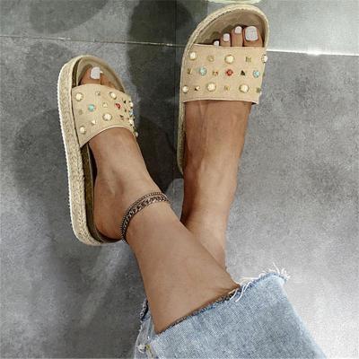 Braided Detailing Platform Sole Open Toe Rivet Embellished Flat Slippers