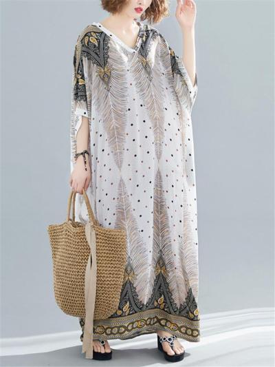 Oversized Style V Neck Half Sleeve Feather Print Soft Cotton Shift Dress