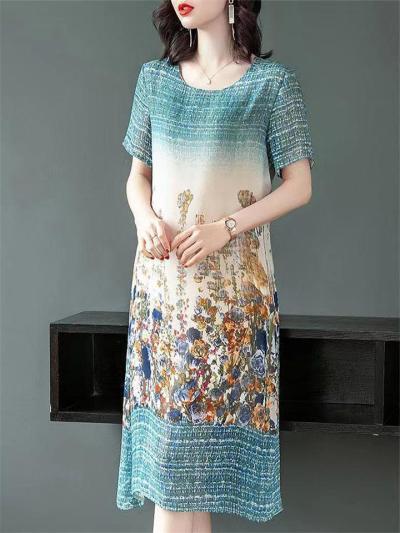 Vibrant Floral Print Short Sleeve Straight Hem Midi Length Shift Dress