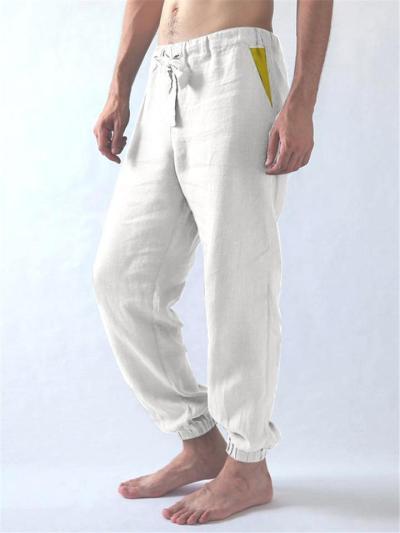 Breathable Patchwork Cotton Casual Comfy Pants