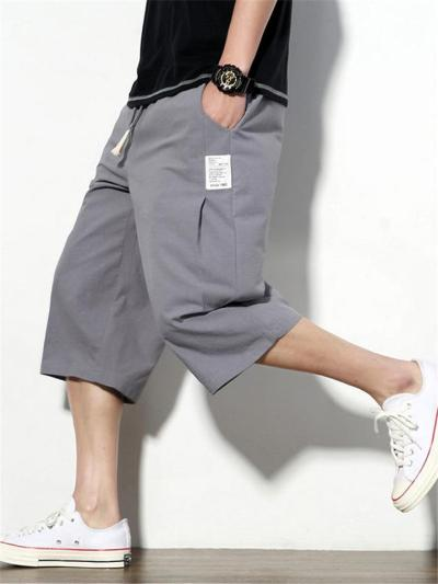 Comfy Loose Pure Color Cropped Trousers