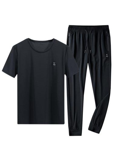 Loose Casual Elastane Knitted Short Sleeved Sports T-Shirts+Pants