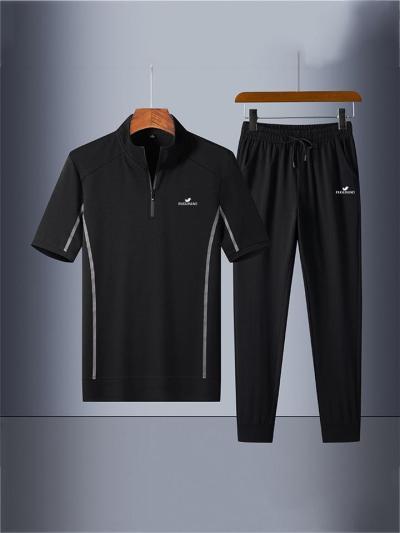 Sports Loose Stripe Breathable Print Short Sleeved Shirts+Pants