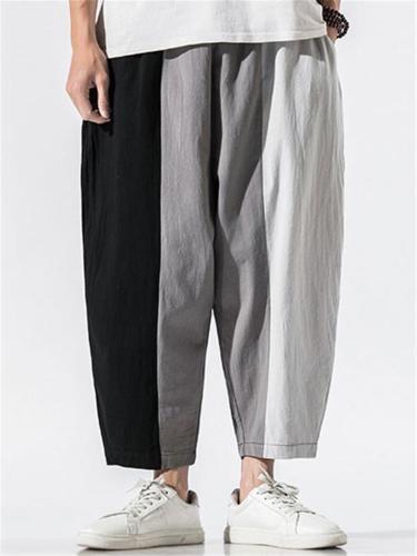 Contrast Color Stripe Casual Baggy Harem Pants